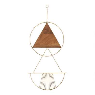 Gold Metal and Wood Geo Celeste Wall Hanging