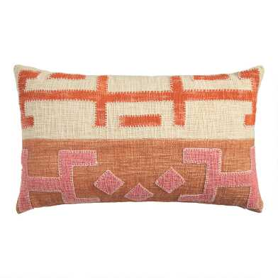 Pink and Orange Kuba Applique Lumbar Pillow